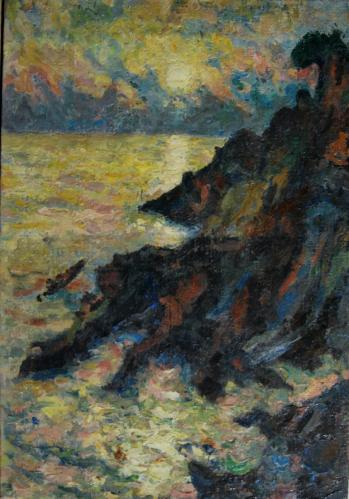 Emile-Boggio-436 coucher de soleil nervi 1913 55x38