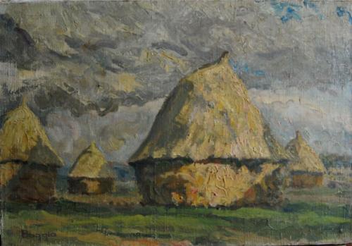 Emile-Boggio-530 meules dans la plaine d'auvers 1913 38x55