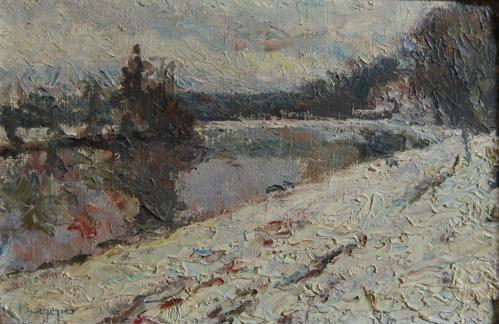 Emile-Boggio-744 l'oise sous la neige 1914 27x41